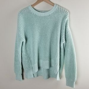 Lou & Grey Mint Green Woven Knit Hi Lo Sweater
